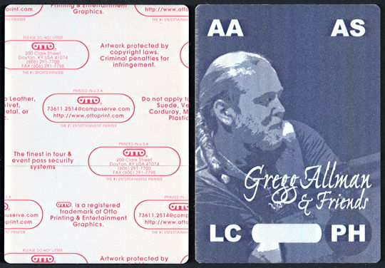 ##MUSICBP0094  - Gregg Allman OTTO  Cloth Backstage Pass from the Searching for Simplicity Tour
