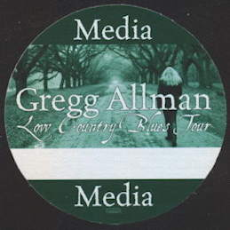 ##MUSICBP0095  - Gregg Allman Backstage Pass from the Low  Country Blues Tour - As low as $1 each