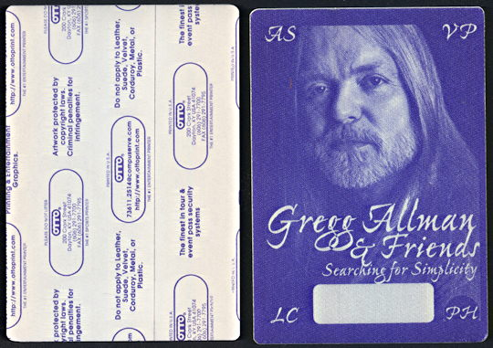 ##MUSICBP0093  - Gregg Allman OTTO Cloth Backstage Pass from the Searching for Simplicity Tour