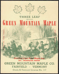 #ZBOT229 - Three Leaf Brand Green Mountain Maple Syrup Bottle Label