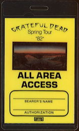 ##MUSICBP0259  - Scarce Yellow 1982 Grateful Dead All Area Access OTTO Laminated 1982 Spring Tour Backstage Pass