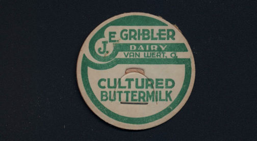 #DC160 - J. E. Gribbler Dairy Cultured Buttermilk Milk Bottle Cap - Van Wert, Ohio
