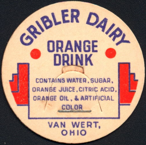#DC189 - Gribler Dairy Orange Drink Milk Bottle Cap