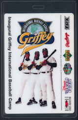 #BA720 - Laminated Pass for the Inaugural Griffey International Baseball Camp - Ken Griffey, Ken Griffey Jr., and Craig Griffey Pictured - As low as $5 each