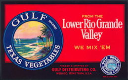 #ZLCA*039 - Gulf Brand Texas Vegetables Crate Label - As low as 25¢ each