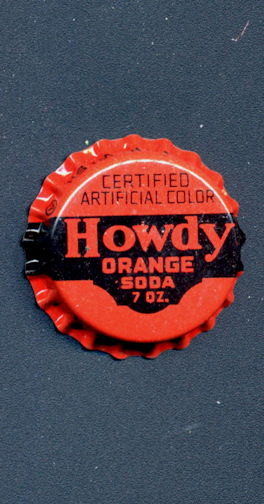 #BC161 - Group of 10 Cork Lined Howdy Orange Soda Bottle Caps