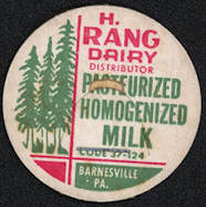 #DC148 - H. Rang Dairy Homogenized Milk Bottle Cap - Barnesville, PA