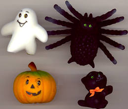 #HH139 - Plush Halloween Black Cat, Spider, Ghost, and Pumpkin Decorations