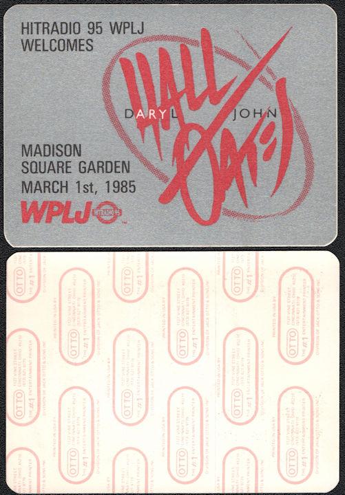 ##MUSICBP0037  - 1985 Hall & Oates Radio Promo OTTO Backstage Pass - 95 WPLJ