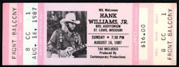 ##MUSICBP0224 - 1987 Hank Williams Jr. Ticket from a Kiel Opera House Concert