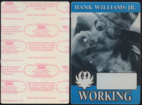 ##MUSICBP0410 - Hank Williams Jr. OTTO Cloth Working Backstage Pass from the 2000 Bocephus Tour
