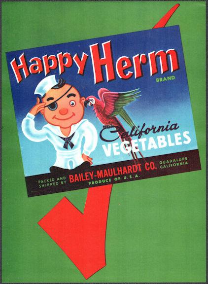 #ZLC487 - Happy Herm California Vegetables Crate Label - Guadalupe, CA