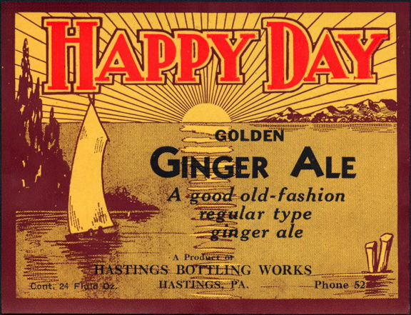 #ZLS116 - Happy Days Golden Ginger Ale Label
