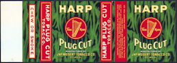 #ZLT037 - Rare Harp Plug Cut Tobacco Can Label Picturing a Harp