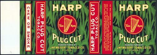 #ZLT037 - Rare Harp Plug Cut Tobacco Can Label Picturing a Harp