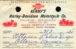 #ZZZ172  - Group of 3 Receipts from Kenny's Harley-Davidson Motorcycle Co. - Pictures Harley Panhead and Knucklehead Motorcycle