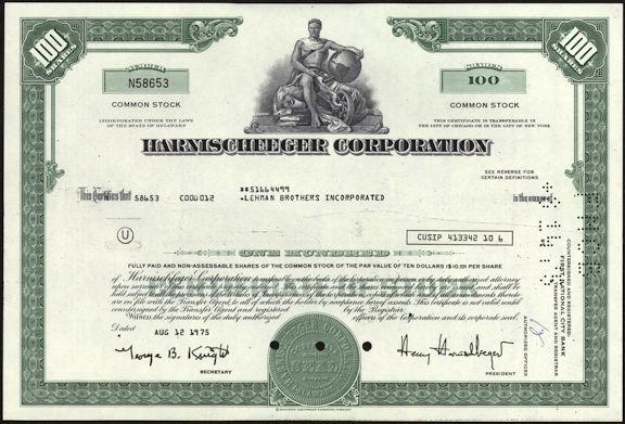 #ZZCE056 - Harnischfeger Corporation Stock Certificate