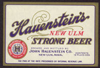 #ZLBE073 - Hauenstein's New Ulm Strong Beer Label - early IRTP mark