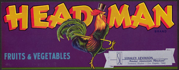 #ZLCA*021 - Head Man Brand Fruit and Vegetable Crate Label - Strutting Rooster - As low as $1.50