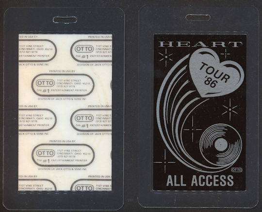 ##MUSICBP0084  - 1986 Heart Laminated Backstage Pass from the Heart Tour - As low as $3.00 each