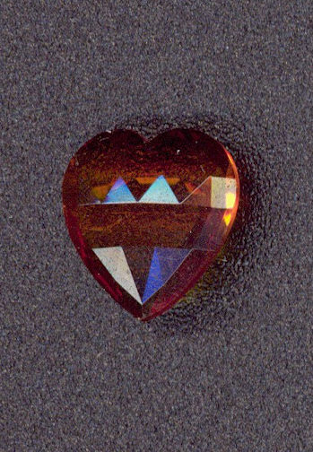 #BEADS0667 - Czech Transparent Amber Heart Shaped Rhinestone
