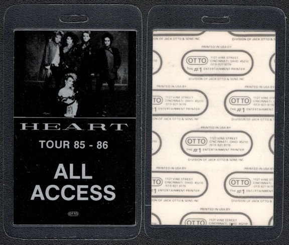 "##MUSICBP0562 - 1985/86 Heart Laminated OTTO Laminated Backstage Pass from the ""Heart"" Tour - Group Picture"