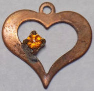 #BEADSC0265 - Copper Heart Charm with Hand Soldered Rhinestone