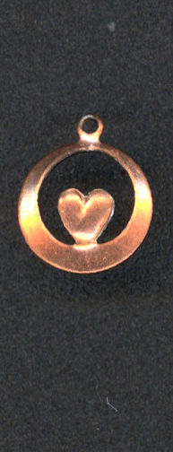 #BEADS0268 - Copper Heart in a Ring Charm - As Low as 12¢ each