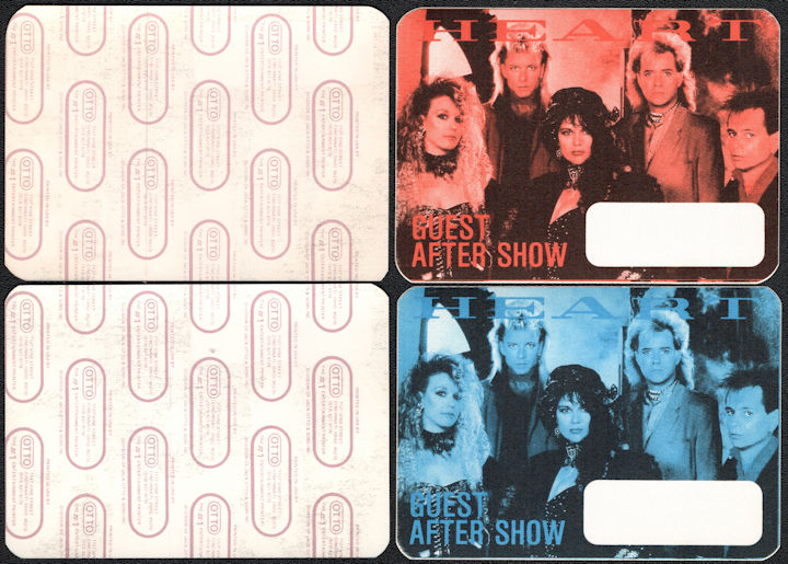 ##MUSICBP0036  - Pair of Two Different Colored 1985 Heart OTTO Backstage Pass from the Heart Album Tour
