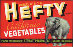 ZLSH407 - Group of 12 Hefty California Vegetables Crate Labels - Pictures an Elephant