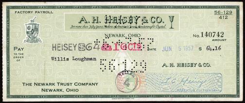 #ZZZ087 - Scarce A. H. Heisey Glass Check