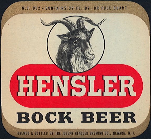 #ZLBE114 - Large Hensler Bock Beer Label - Large Goat Head
