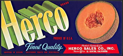 #ZLCA*041 - Herco  Brand Cantaloupe Crate Label