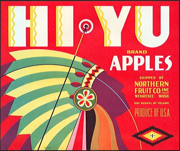 #ZLC414 - HI YU Apples Crate Label - Stylistic Indian Chief