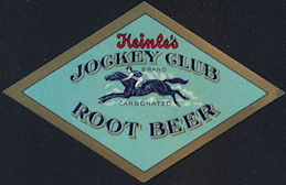 #ZL200 - Rare Heinle's Jockey Club Carbonated Root Beer Label with Racehorse - As low as $1 each