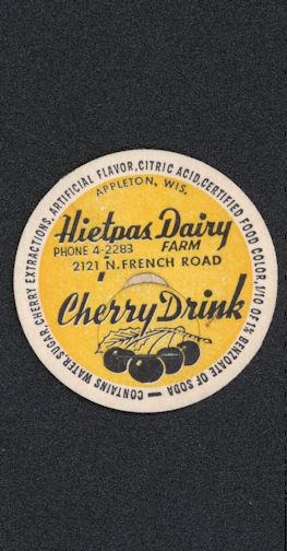 #DC146 - Hietpas Dairy Cherry Drink Bottle Cap - Yellow Version - Scarce