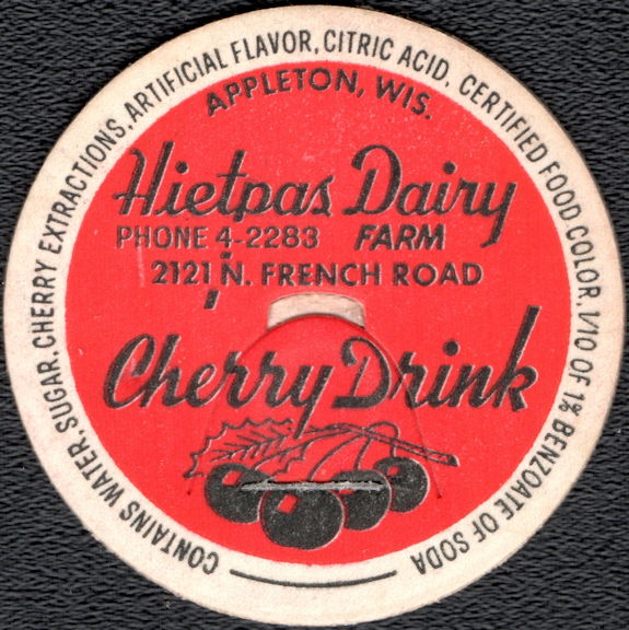 #DC205 - Hietpas Dairy Cherry Drink Bottle Cap - Red Version - Scarce