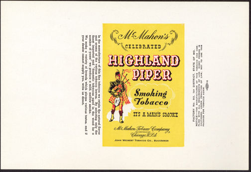 #ZLT029 - McMahon's Celebrated Highland Piper Smoking Tobacco Pack Label
