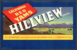 ZLSH606 - Group of 100 Hillview California Red Yams Crate Labels