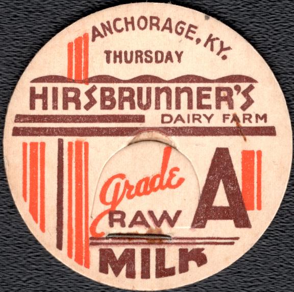 #DC209 - Hirsbrunner's Dairy Farm Raw Milk Bottle Cap