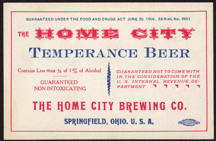 #ZLBE076 - Very Old and Unusual Home City Temperance Beer Label