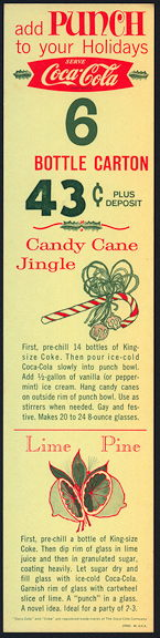 #CC320 - Coca Cola Christmas Carton Insert with Candy Cane Recipe - As low as 75¢ each