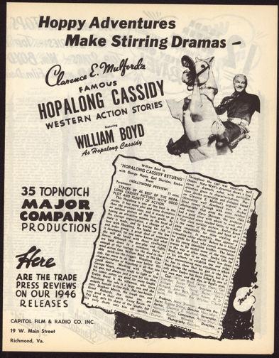 #CH326-05  - Rare 1946 Hopalong Cassidy Trade Press Reviews Brochure