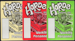 ##MUSICBP0663 - Groups of 3 Different Colored Horde Festival 1997 OTTO Backstage Working Personnel Passes - Neil Young and Crazy Horse