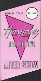 ##MUSICBP0563  - 1986/87 Huey Lewis and the News Trapezoidal OTTO Cloth Backstage Pass from the World Tour