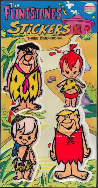 #CH404 - Huge Display Card with The Flintstone Three Dimensional Stickers