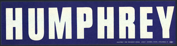 #PL343 - Humphrey Bumper Sticker from the 1968 Election