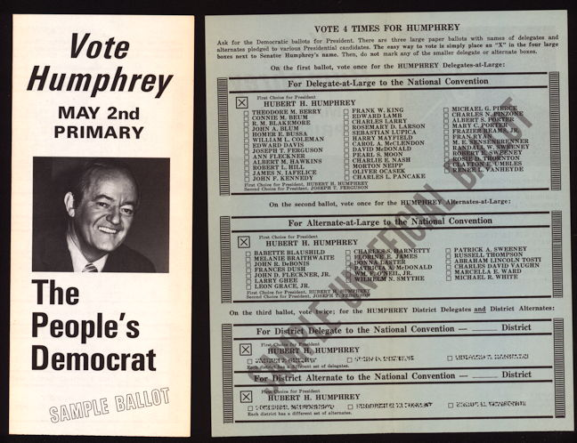 #PL344 - Hubert Humphrey 1972 Vote Humphrey Sample Ballot Brochure