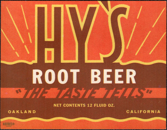 #ZLS237 - Uncommon Hy's Root Beer Soda Bottle Label