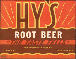 #ZLS237 - Uncommon Hy's Root Beer Soda Bottle Label